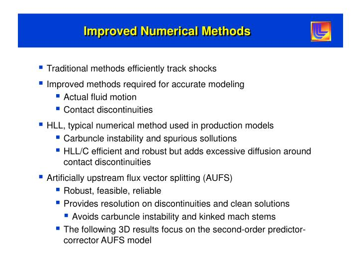 Improved Numerical Methods