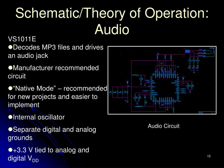 Schematic/Theory of Operation: Audio
