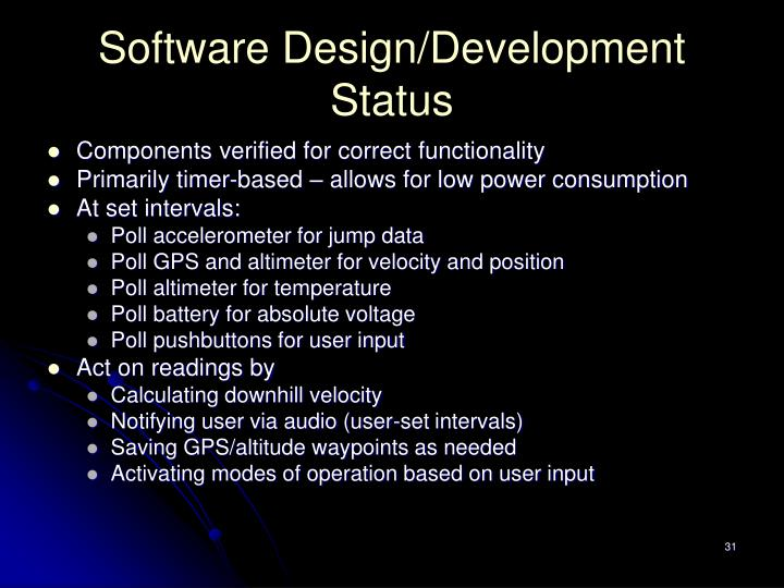 Software Design/Development Status