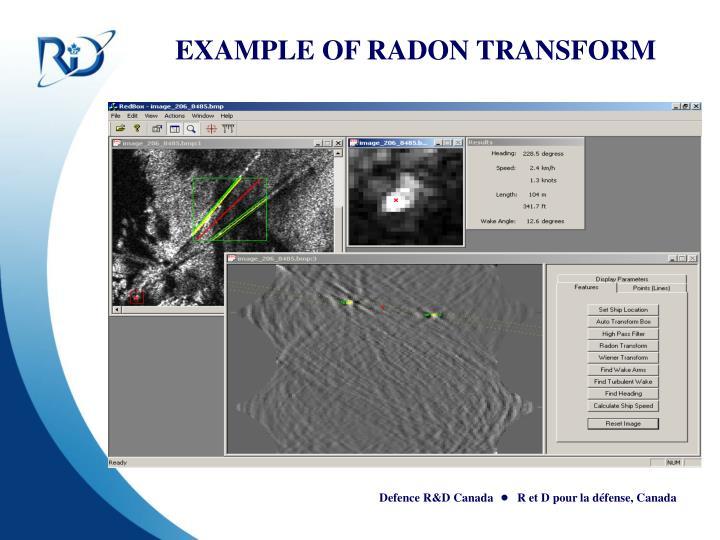 EXAMPLE OF RADON TRANSFORM