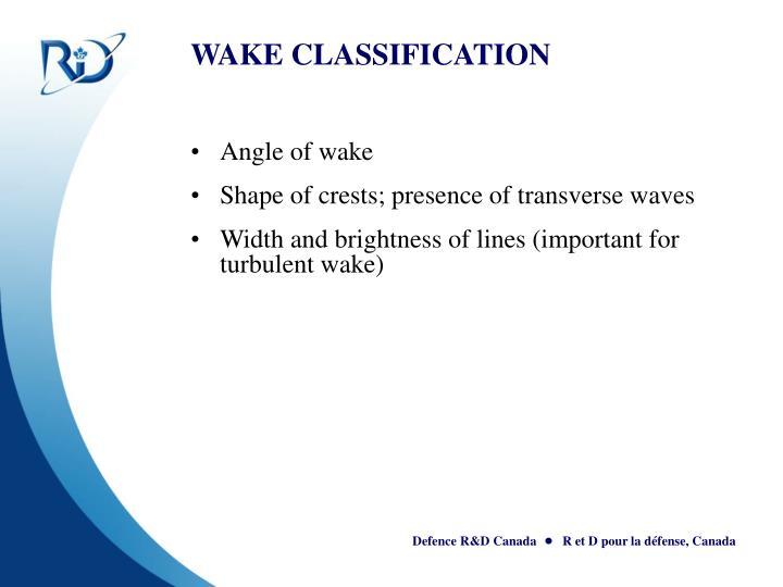 WAKE CLASSIFICATION