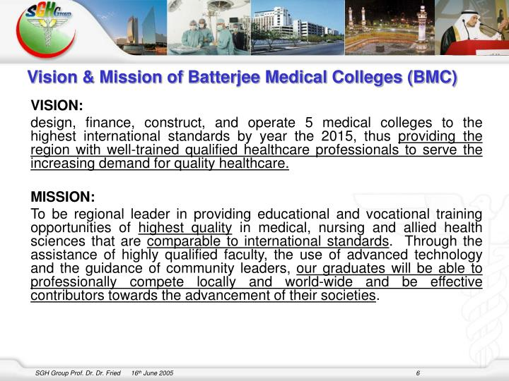 Vision & Mission of Batterjee Medical Colleges (BMC)
