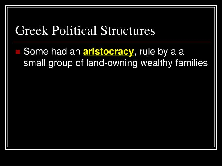 Greek Political Structures