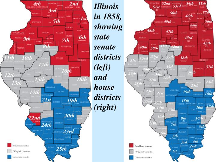 Illinois in 1858, showing state senate districts (left) and house districts (right)
