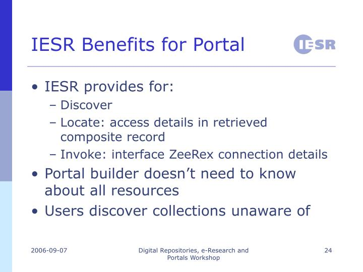 IESR Benefits for Portal