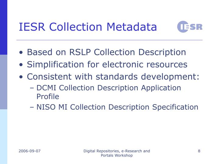 IESR Collection Metadata