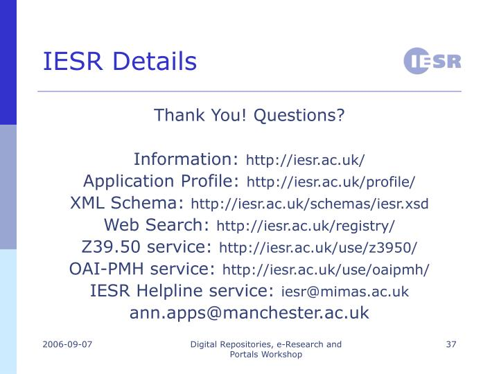 IESR Details