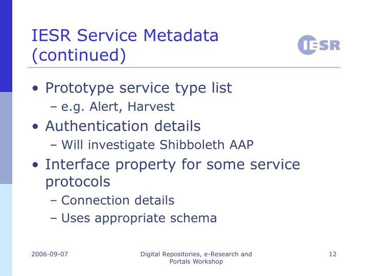 IESR Service Metadata (continued)