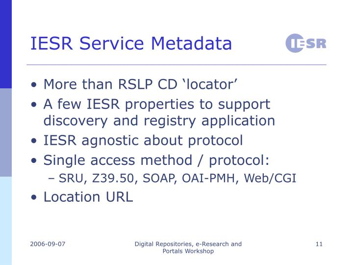 IESR Service Metadata