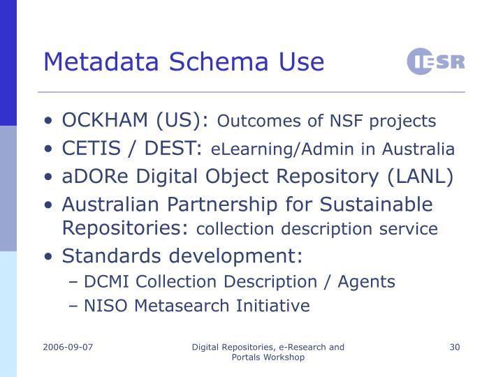 Metadata Schema Use