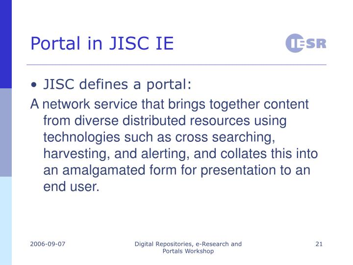 Portal in JISC IE