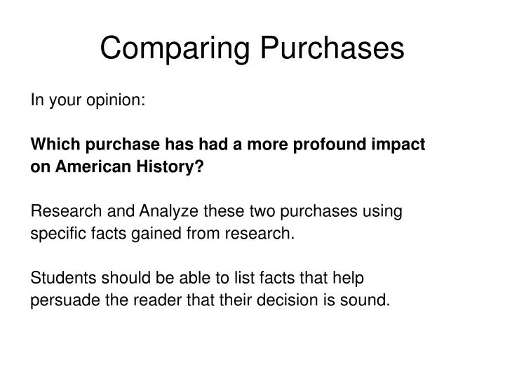 Comparing Purchases