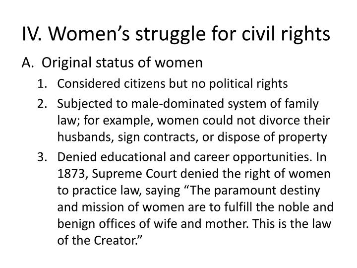 IV. Women's struggle for civil rights