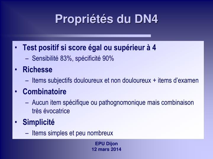 Propriétés du DN4
