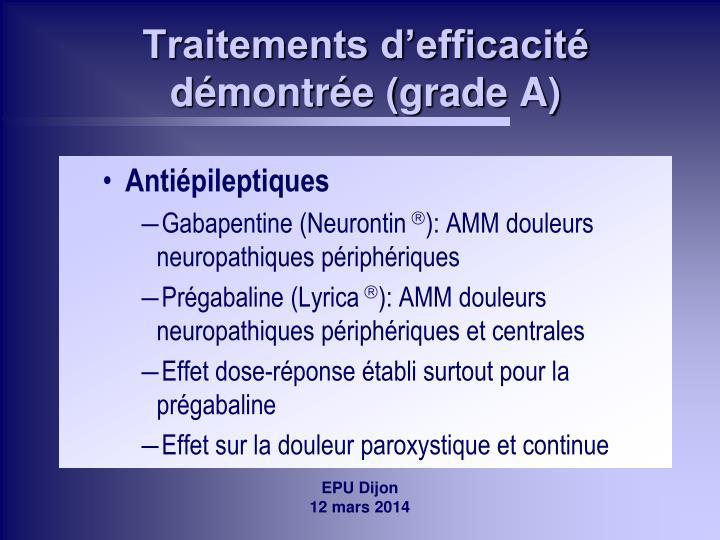 Traitements d'efficacité démontrée (grade A)