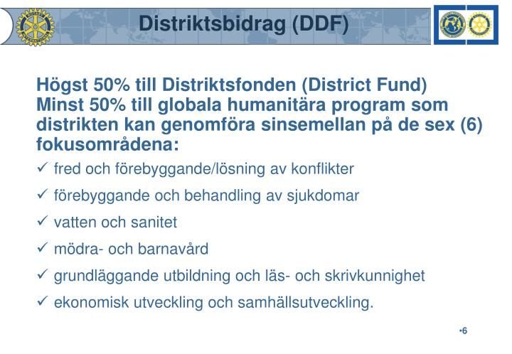 Distriktsbidrag (DDF)
