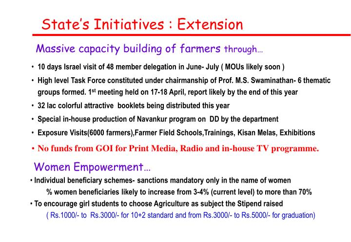 State's Initiatives : Extension