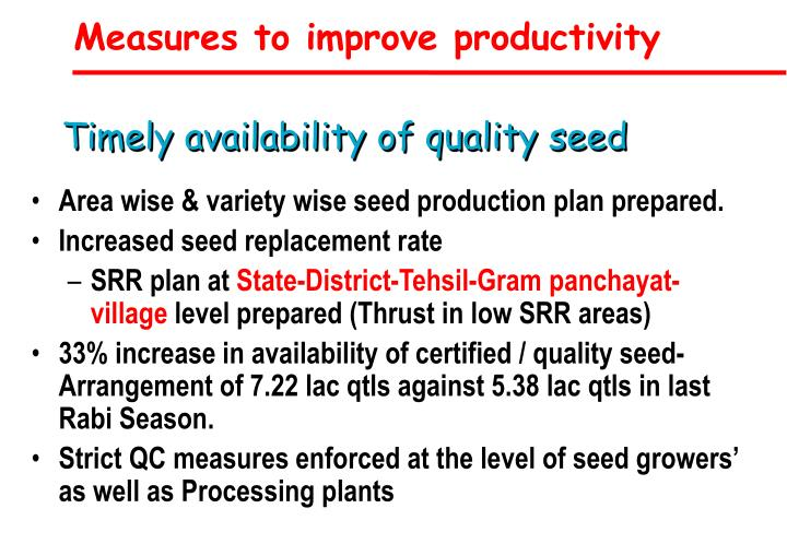 Measures to improve productivity