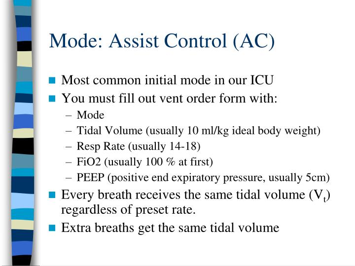 Mode: Assist Control (AC)