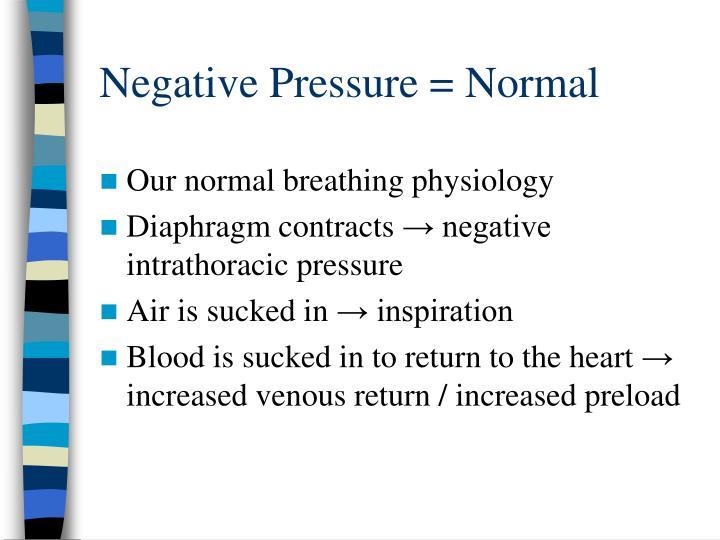 Negative Pressure = Normal