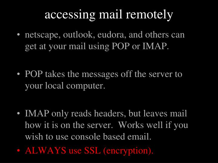 accessing mail remotely