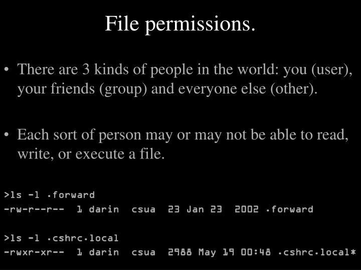 File permissions.