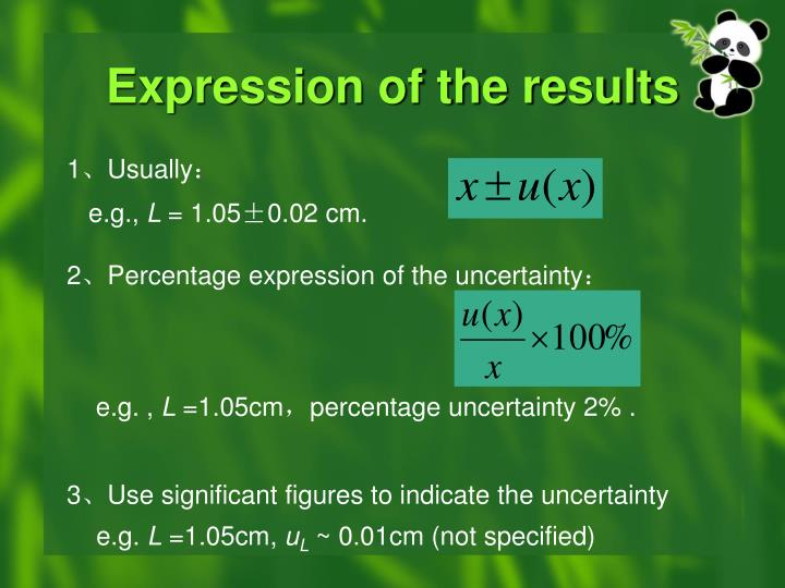 Expression of the results