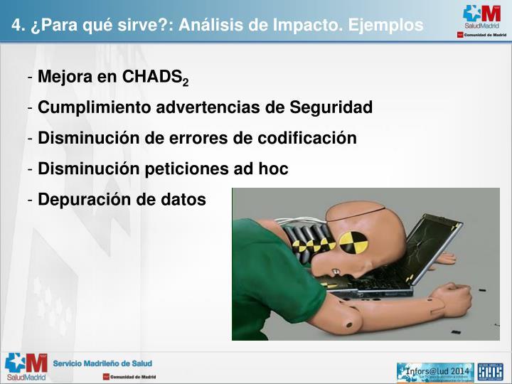 4. ¿Para qué sirve?: Análisis de Impacto. Ejemplos
