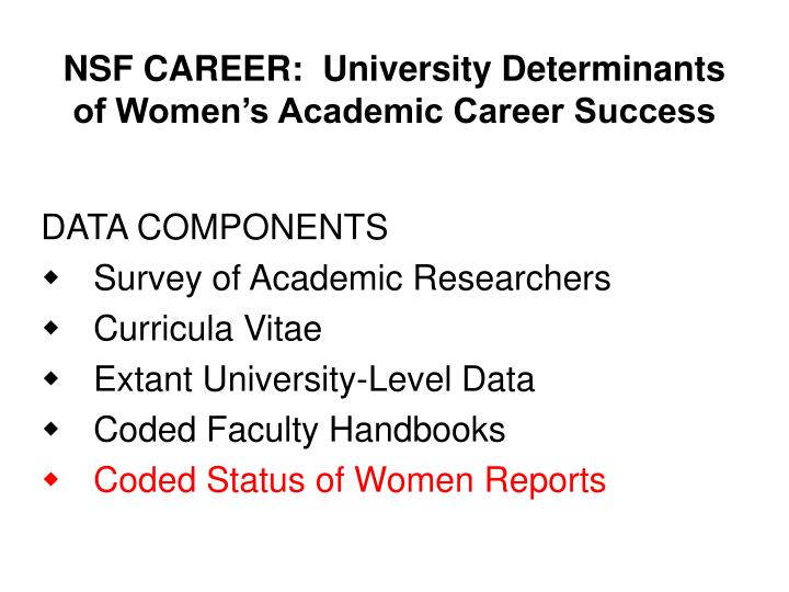 NSF CAREER:  University Determinants of Women's Academic Career Success