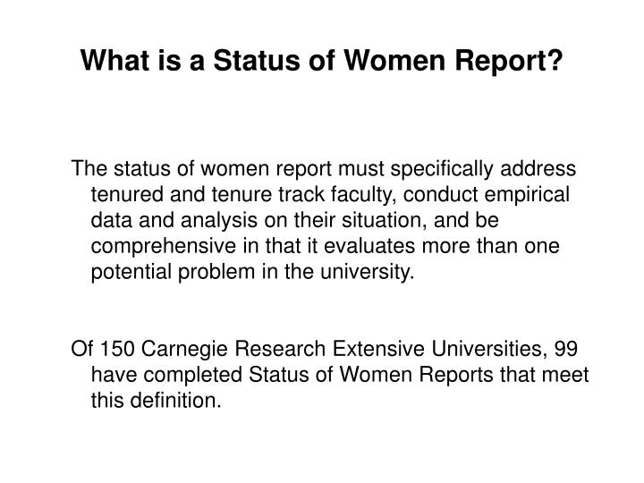What is a Status of Women Report?