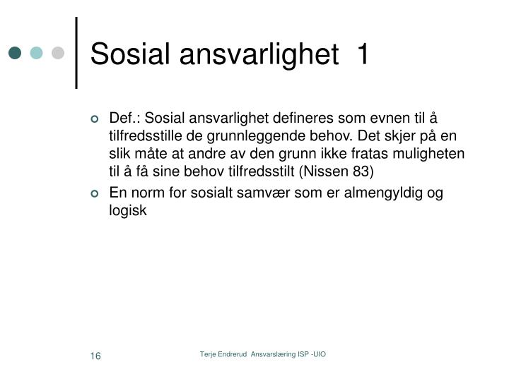 Sosial ansvarlighet  1