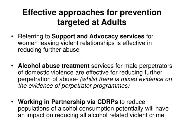Effective approaches for prevention targeted at Adults
