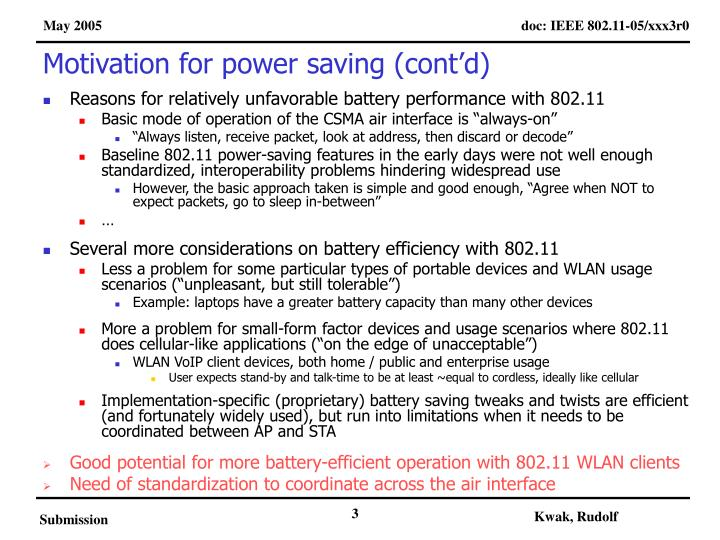 Motivation for power saving cont d