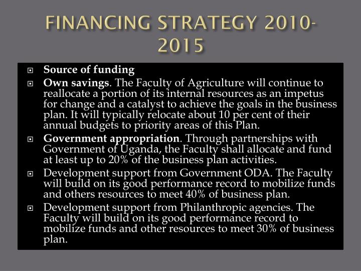 FINANCING STRATEGY 2010-2015