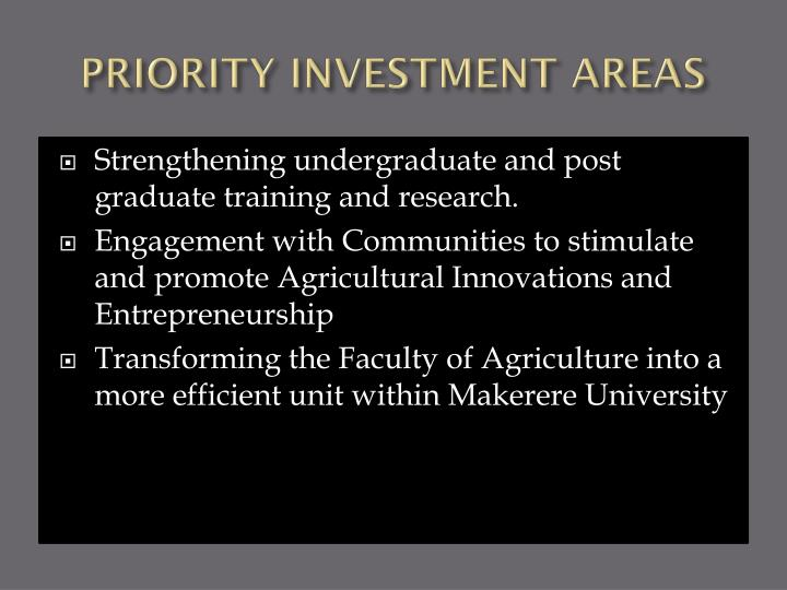 PRIORITY INVESTMENT AREAS