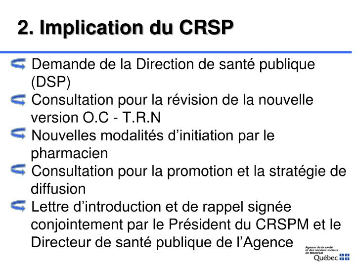 2. Implication du CRSP