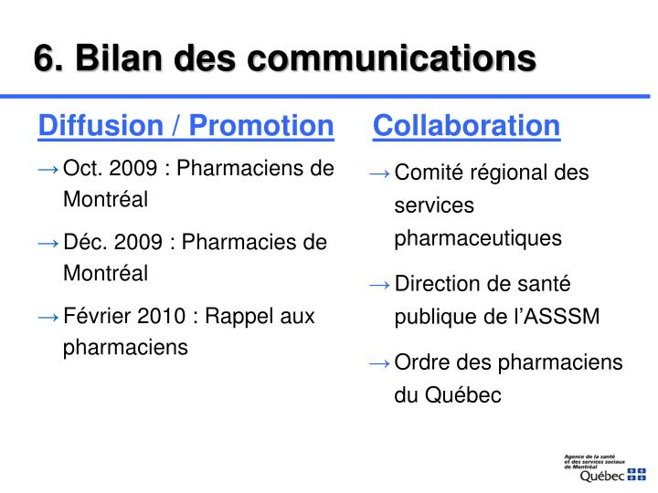 6. Bilan des communications
