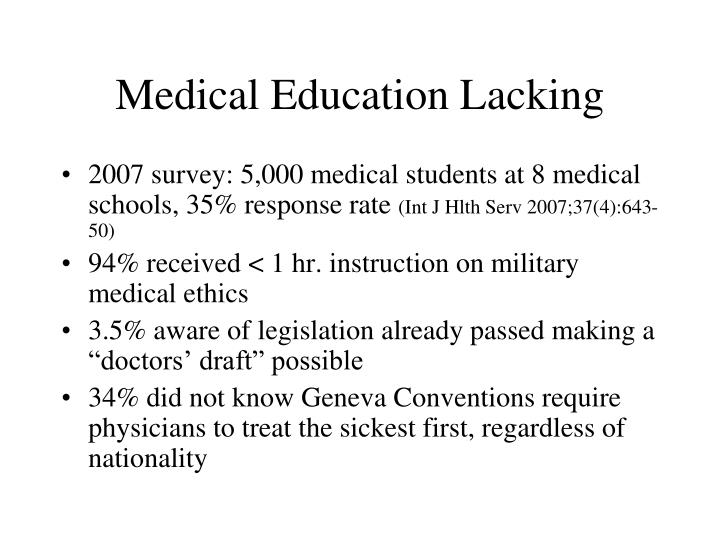 Medical Education Lacking