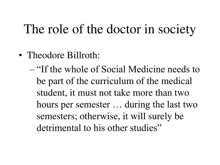 The role of the doctor in society