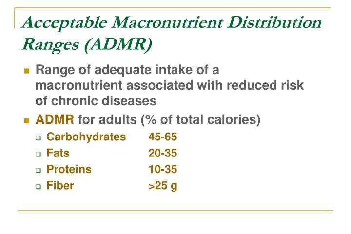 Acceptable Macronutrient Distribution Ranges (ADMR)