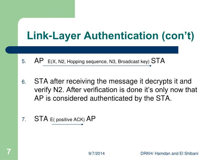 Link-Layer Authentication (con't)