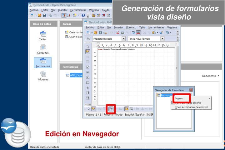 Generación de formularios vista diseño