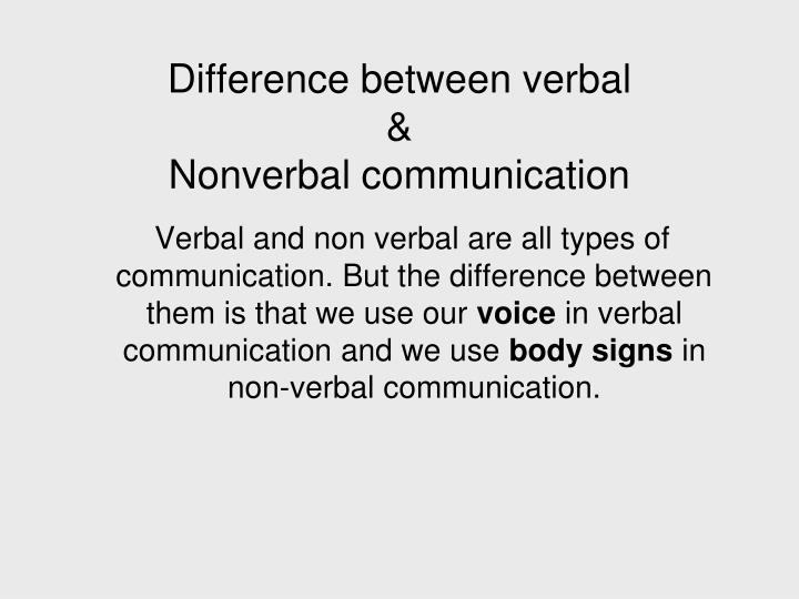 Difference between verbal