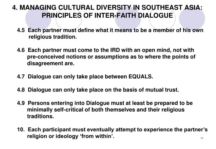 4. MANAGING CULTURAL DIVERSITY IN SOUTHEAST ASIA: PRINCIPLES OF INTER-FAITH DIALOGUE