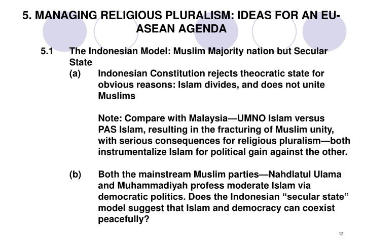 5. MANAGING RELIGIOUS PLURALISM: IDEAS FOR AN EU-ASEAN AGENDA