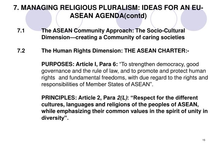 7. MANAGING RELIGIOUS PLURALISM: IDEAS FOR AN EU-ASEAN AGENDA(contd)
