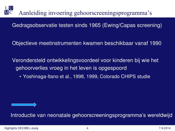 Aanleiding invoering gehoorscreeningsprogramma's