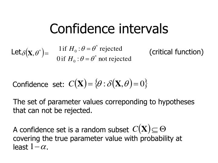 A confidence set is a random subset                  covering the true parameter value with probability at least        .