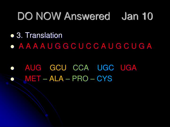 DO NOW Answered    Jan 10