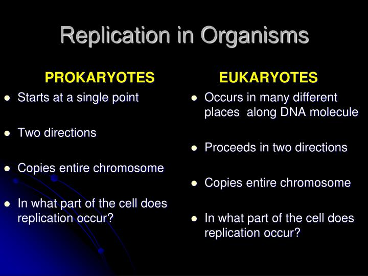Replication in Organisms